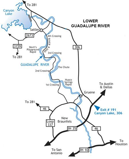 guadalupe river map texas river tubing paddling cing in texas tx hill country