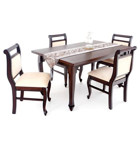 4 Set Dining Table 4 Seater Dining Table Set Teak Veneer Finish Buy 4 Seater Dining Table Set Teak Veneer