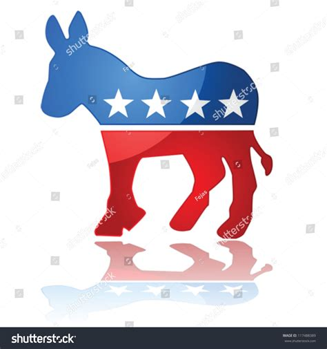 what color is the democratic glossy vector illustration showing the iconic united