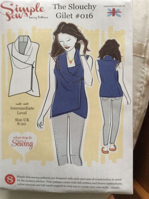 sewing pattern gilet simple sew slouchy gilet free with magazine patterns