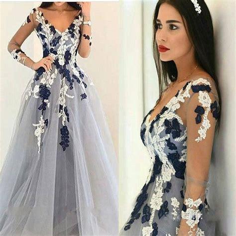 Dress Unique sleeves appliqued gown v neck unique formal prom