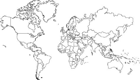 World Map Hd Outline by World Map Mercator Projection No Borders In America