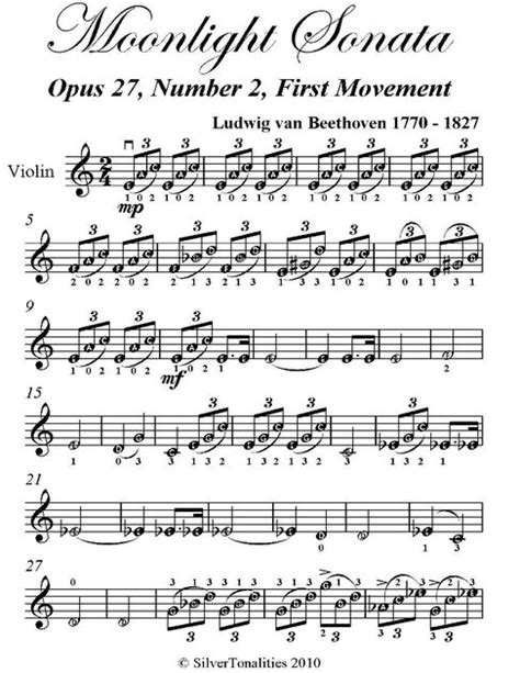 moonlight sonata easy to read piano tab method books moonlight sonata easy violin sheet by ludwig