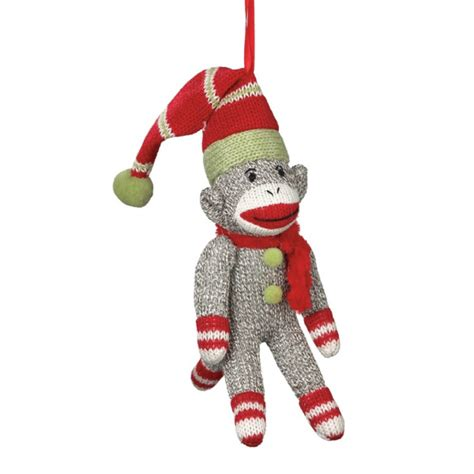 sock monkey in stocking cap christmas ornament yarn