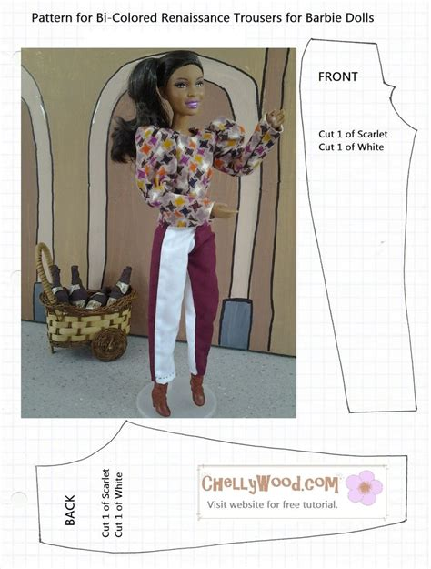 barbie sewing patterns on pinterest barbie patterns free printable pattern for barbie trousers pants from