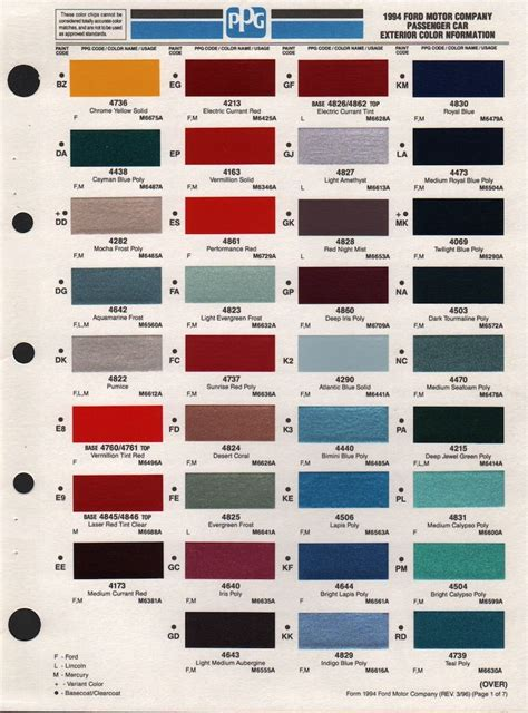 paint chips  ford aerostar mustang colors ford aerostar paint chips ford