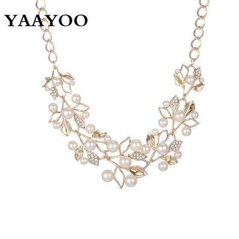 Pearl White Color Necklace yaayoo imitation pearl rhinestone flowers leaves metal yellow white color statement necklace