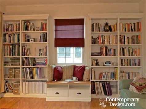 Living Room Bookshelf Design Built In Shelves Around Window