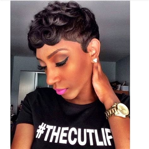 pin curl hair style for black women loose pin curls short haircut the cut life t shirt