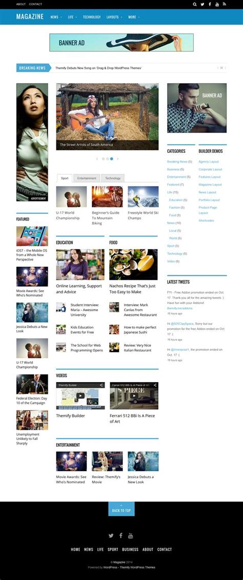 pinterest layout wordpress magazine responsive 3 column new wordpress theme