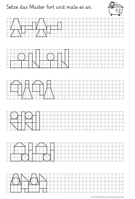 Muster Zeichnen Grundschule Lernst 252 Bchen Muster Fortsetzen 4