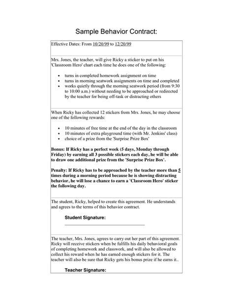 behavior contract template gt gt 17 great behavior