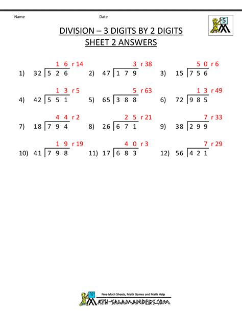 Worksheets Division by Division Worksheets For 5th Grade