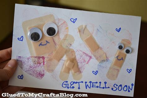how to make a get well soon pop up card get well soon band aid cards kid craft glued to my