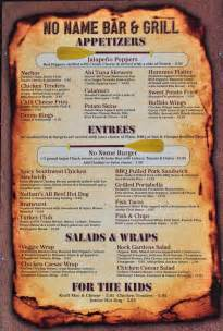 bar and grill menu templates glenwood springs dining at the no name bar grill restaurant