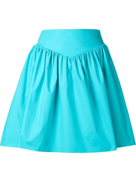 moschino high waist pleated skirt in teal blue save 60