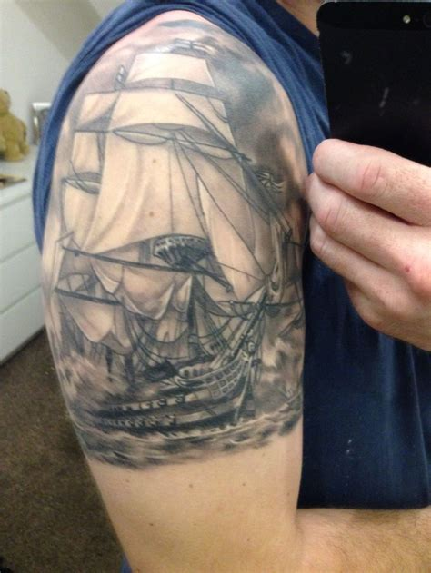 victory tattoo black and grey ship inked