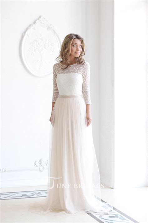 Tulle Sleeve Lace Dress scoop neck sleeve tulle wedding dress with lace