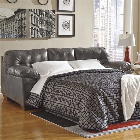 gray leather sleeper sofa ashley furniture alliston leather queen sleeper sofa in