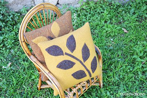 sew  felted wool pillow  leaf applique