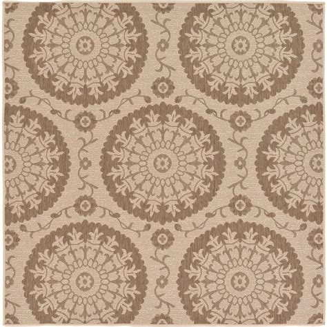 Brown And Beige Area Rugs Unique Loom Outdoor Beige And Brown 6 Ft X 6 Ft Square Area Rug 3126627 The Home Depot