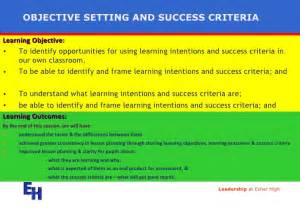 objectives and success criteria