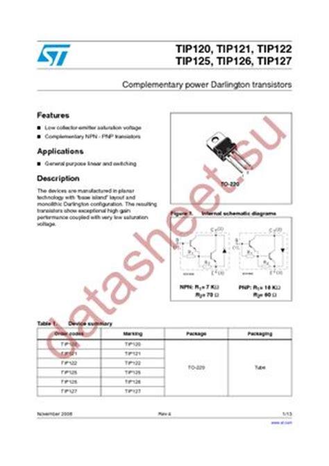 transistor tip 121 datasheet tip121 даташит stmicroelectronics бесплатно скачать в pdf datasheet tip121 техническое описание