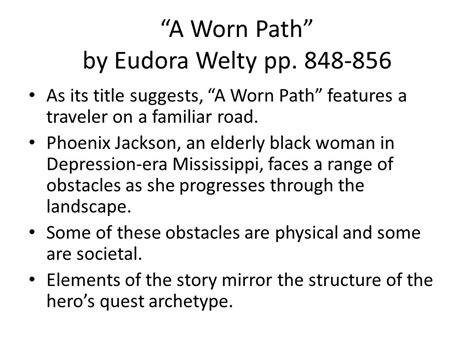 A Worn Path Story by A Worn Path By Eudora Welty Pp Ppt