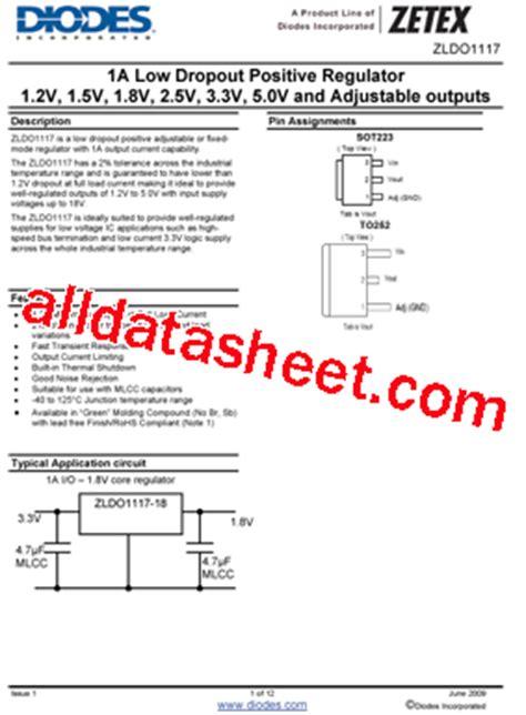 diodes inc ta suffix zldo1117g33ta 데이터시트 pdf diodes incorporated