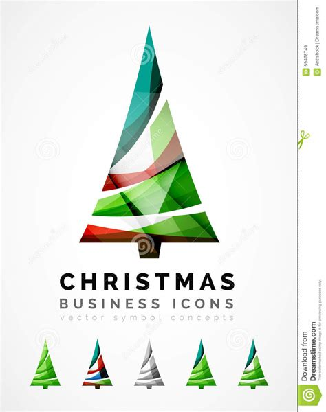 set of abstract christmas tree icons business stock