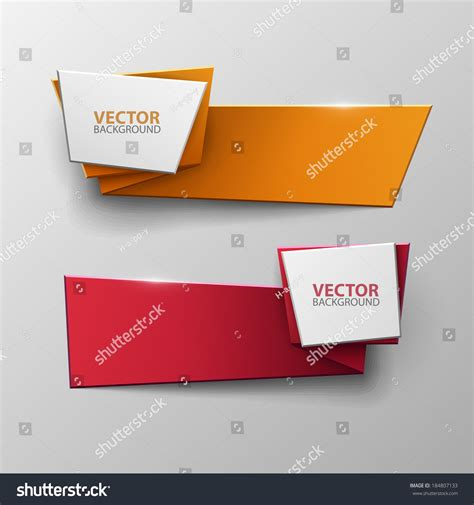 How To Make Paper Banners - origami vector banners set stock vector 184807133