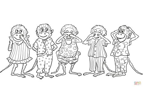 ten little monkeys coloring page dibujo de cinco monitos saltando en la cama para colorear
