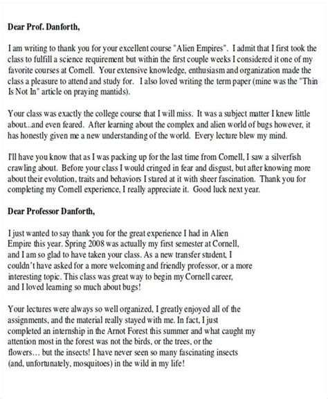 Thank You Letter To End Of Year Sle Thank You Letter To From Student 4 Exles In Word Pdf