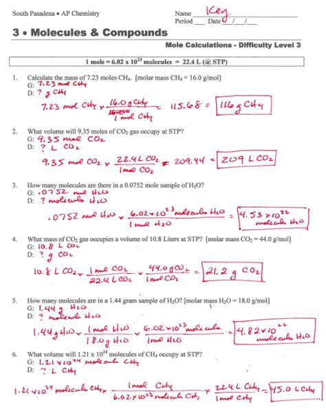 mole calculations worksheet answers mole calculation worksheet answer key science