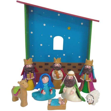 christmas stable walmart time nativity 9 figurine set walmart