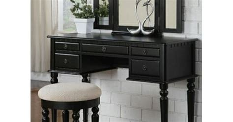 curved design 3 panel mirror vanity with stool drawer 3 pc black finish wood make up bedroom vanity set with