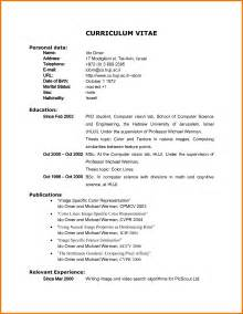 Vita Resume Example 5 Example Of Curriculum Vitae For Student Appeal