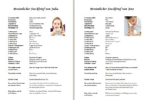 Vorlage Word Steckbrief Hochzeitszeitung Steckbrief Beispiele Und Muster