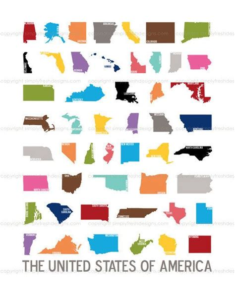 pin by sheila states on for the home decor design i 50 nifty united states u s silhouette art instant
