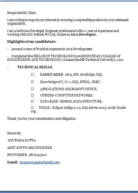 Cover Letter 1 Year Experience Cover Letter Exles Excellent Professional Application Cover Letter Email Format