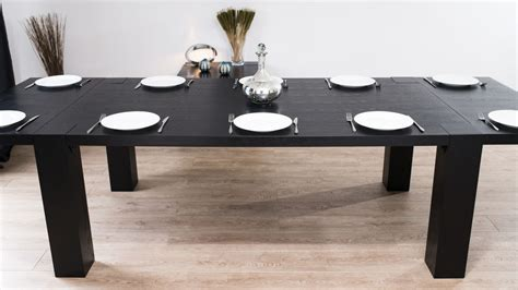 Black Extending Dining Table Modern Large Extending Black Ash Dining Table Chunky Legs Seats 14