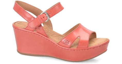 Leather Wedges Shoes 9 Cm 299 lyst born dujour leather wedge sandals in pink