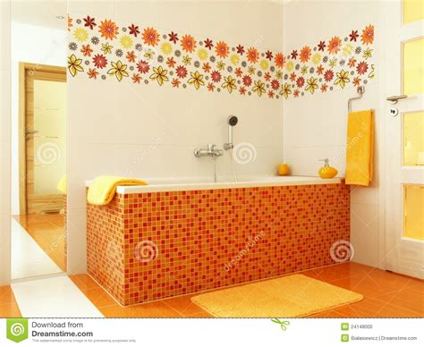8 By 10 Bathroom Floor Plans modern bathroom in orange color stock photo image 24148000