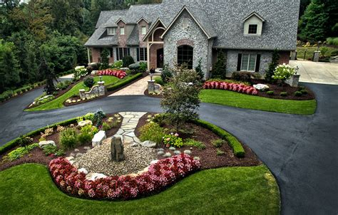 large estate landscape design and build long tree lined