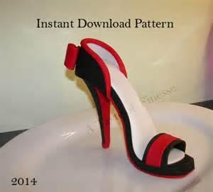 template for fondant high heel shoe pdf instant fondant high heel pattern template high