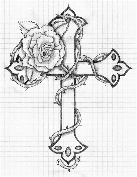 coloring pages of roses and crosses rose and cross by balloon fiasco deviantart com on