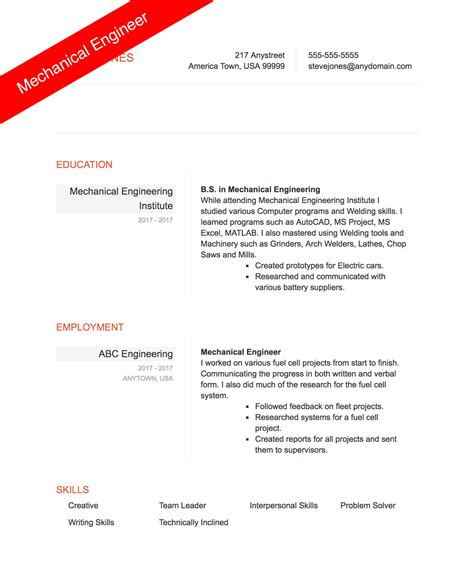 mechanical engineering resume sle resumecompanioncom