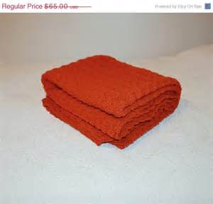 rust colored throw blanket on sale vintage afghan blanket rust crochet by judysjunktion
