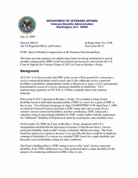 Va Benefits Appeal Letter Sample