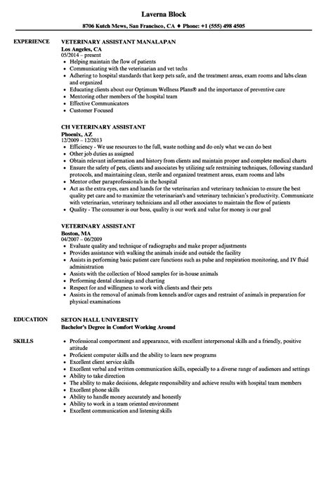 Veterinarian Resume by Veterinary Assistant Resume Sles Velvet